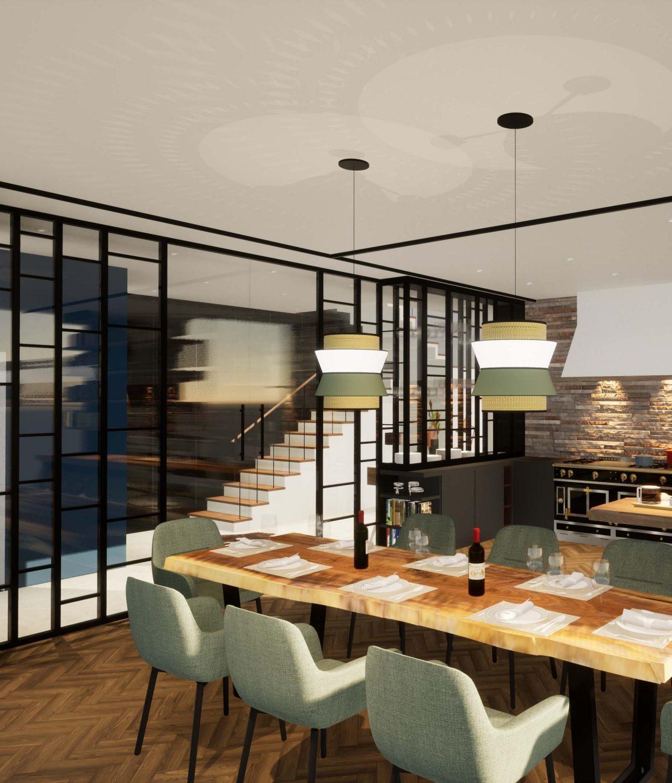 Villa de luxe décoration ameublement La Crèmerie salle à manger cuisine