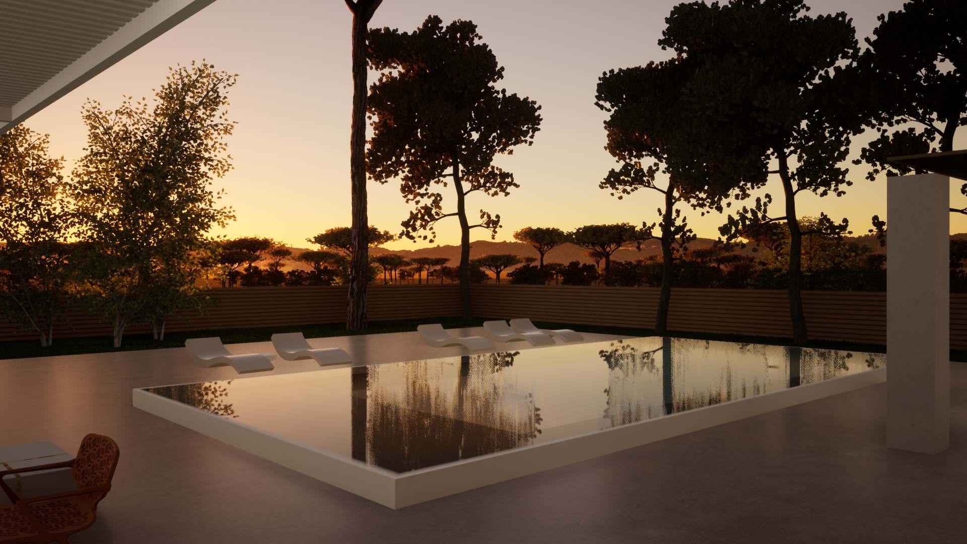Villa Gironde La Crèmerie extérieur nuit piscine